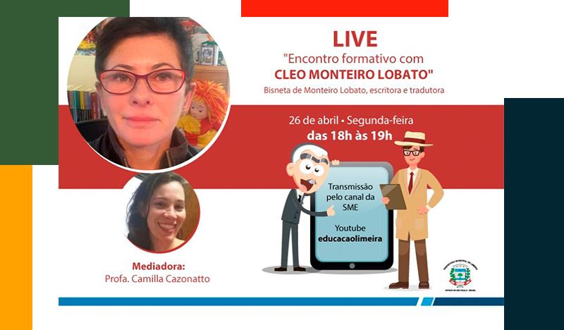 Bisneta de Monteiro Lobato participa de live com educadores da rede